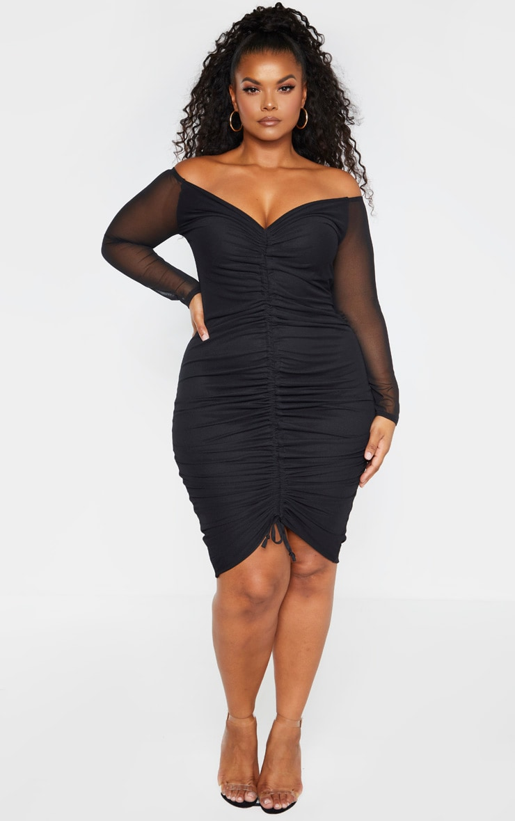 Plus Black Mesh Ruched Bardot Midi Dress  3