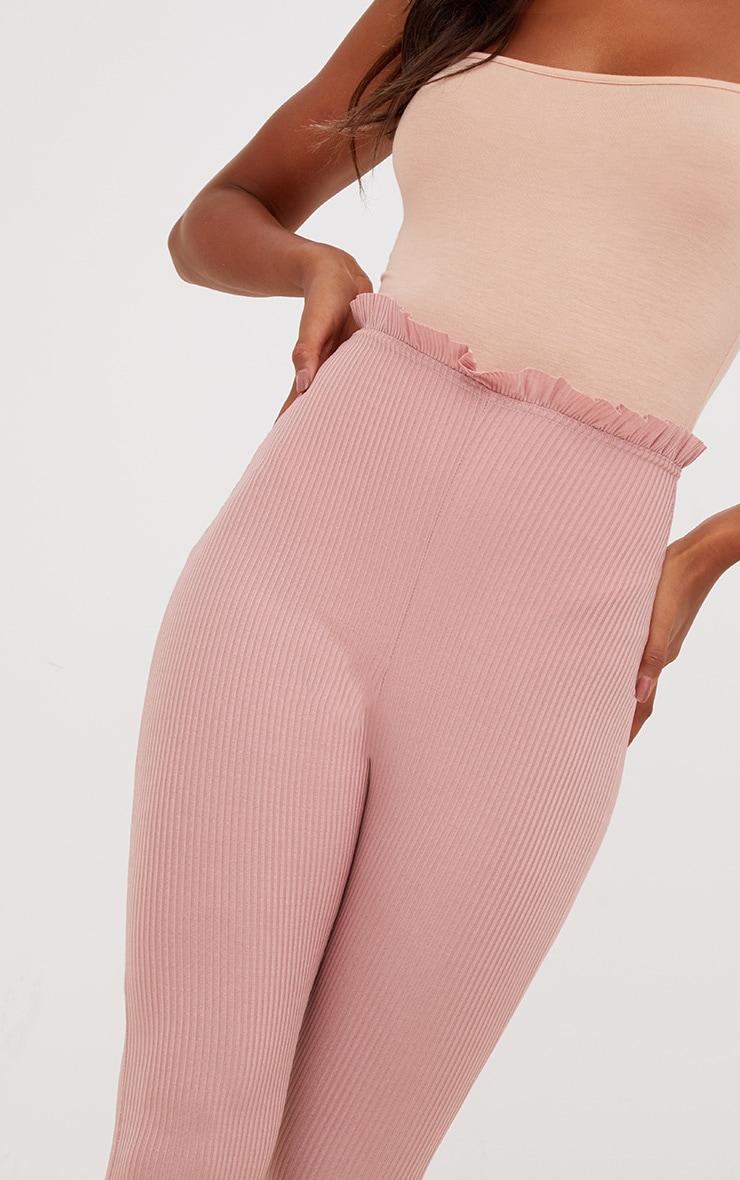 Light Pink Ribbed Shimmer Paperbag Leggings 5