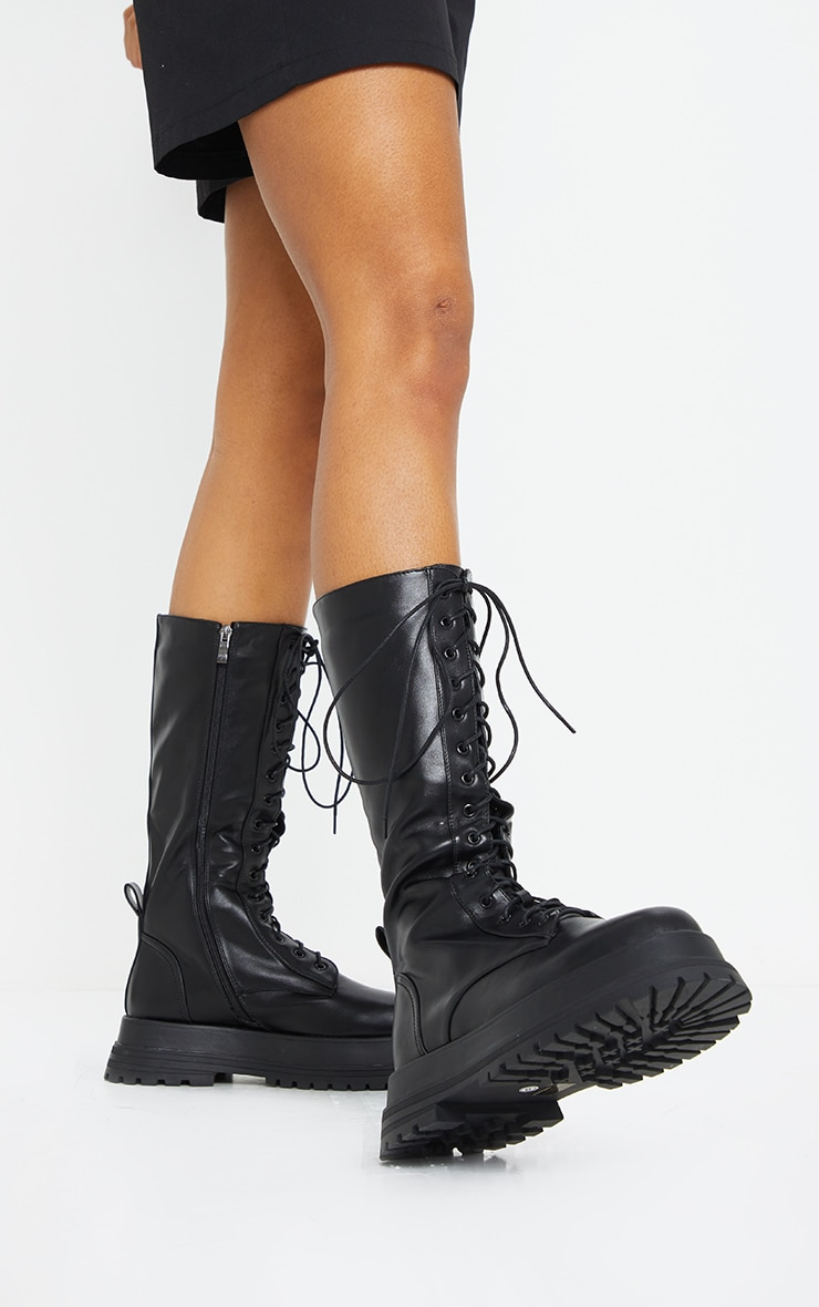 Black Lace Up Calf Chunky Boots 1