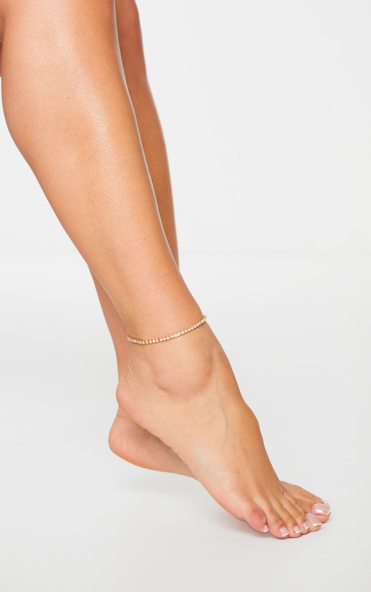 Gold Diamante Simple Anklet 1