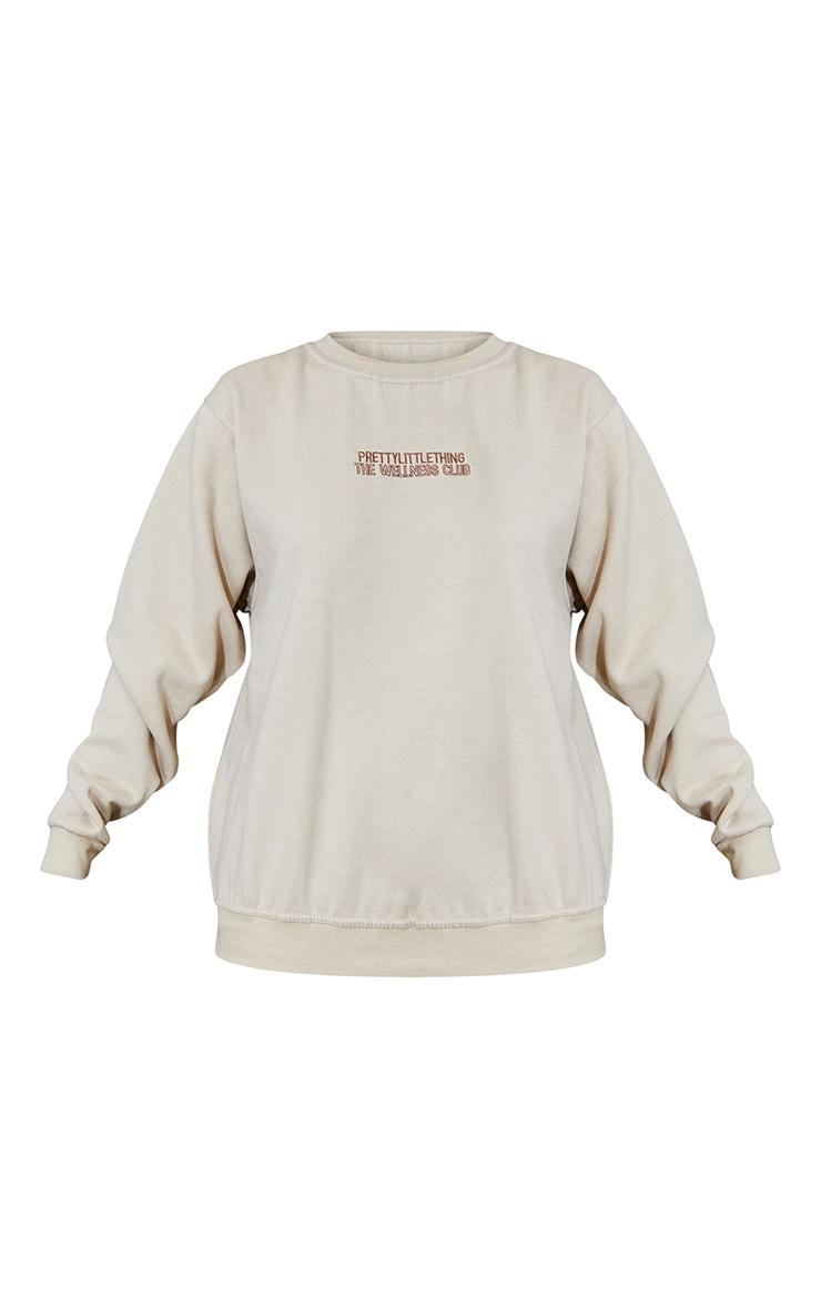 PRETTYLITTLETHING Sand The Wellness Club Embroidered Sweatshirt 5