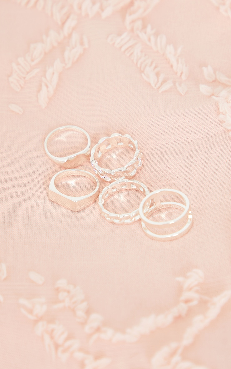 Silver Assorted Basic And Chain 5 Ring Pack 3
