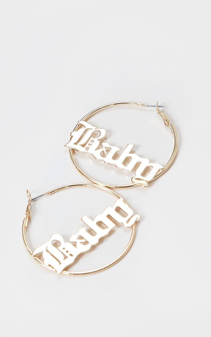 Gold Baby Font Hoop Earrings 1