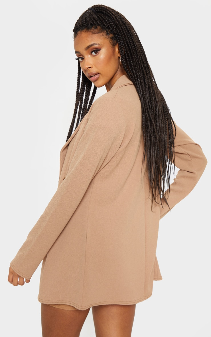 Camel Oversized Button Detail Blazer 2