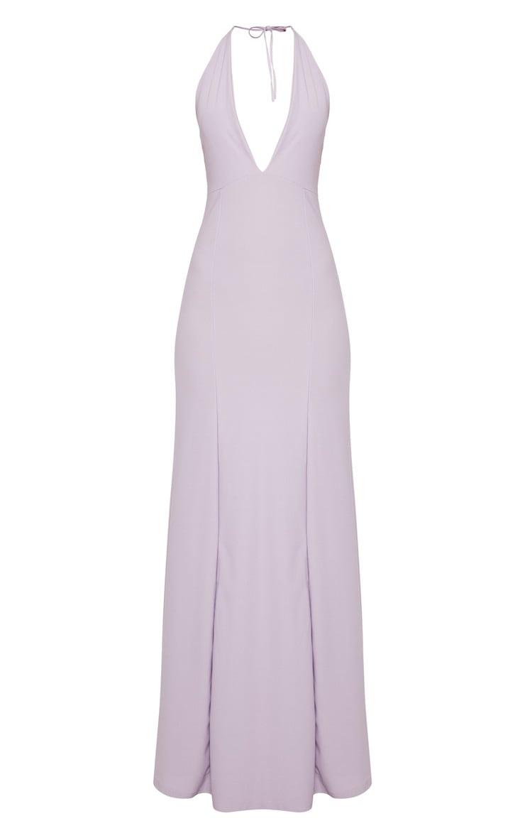 Lilac Halterneck Fishtail Maxi Dress 3