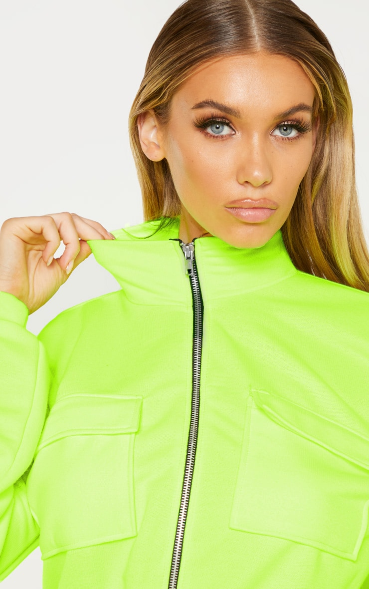 Tall Neon Lime Zip Front Pocket Unitard 5