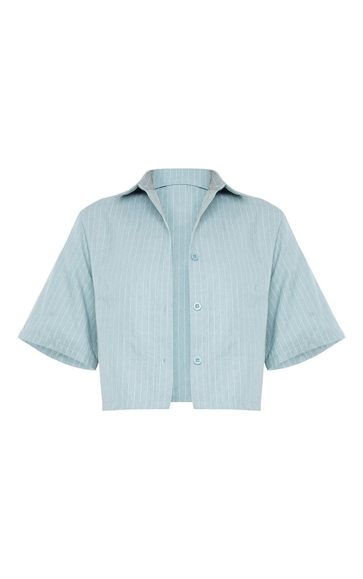 Sage Green Pinstripe Linen Feel Short Sleeve Crop Shirt 5