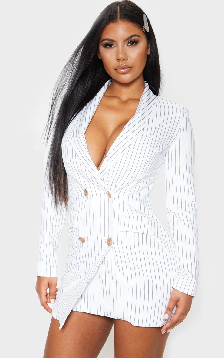 White Pinstripe Gold Button Blazer Dress 1