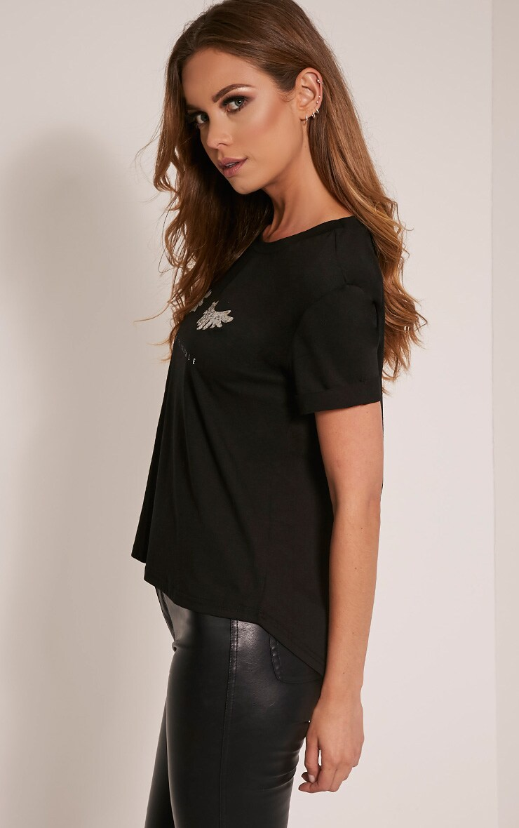 Live To Sparkle Slogan Black T Shirt 4