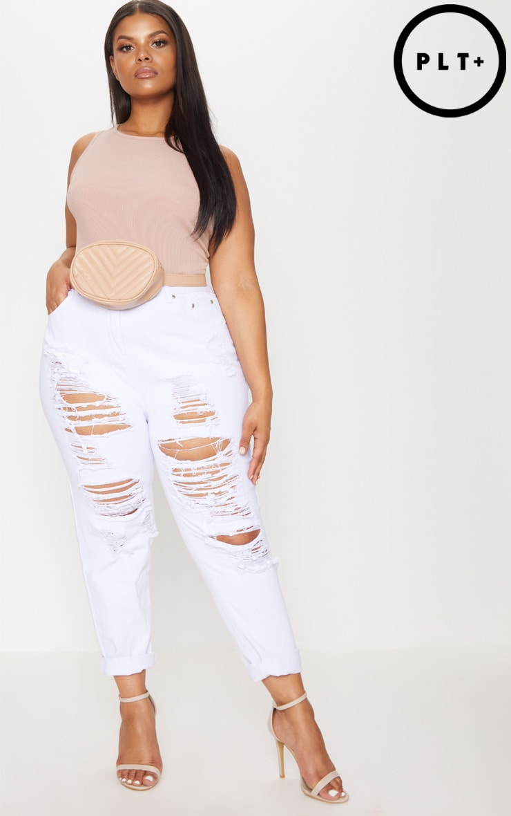 Plus White Super Distressed Mom Jeans 1