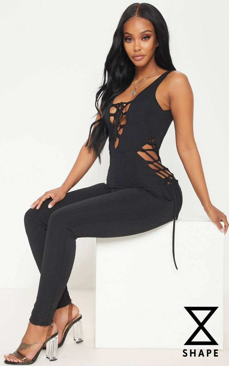 Shape Black Slinky Lace Up Detail Unitard