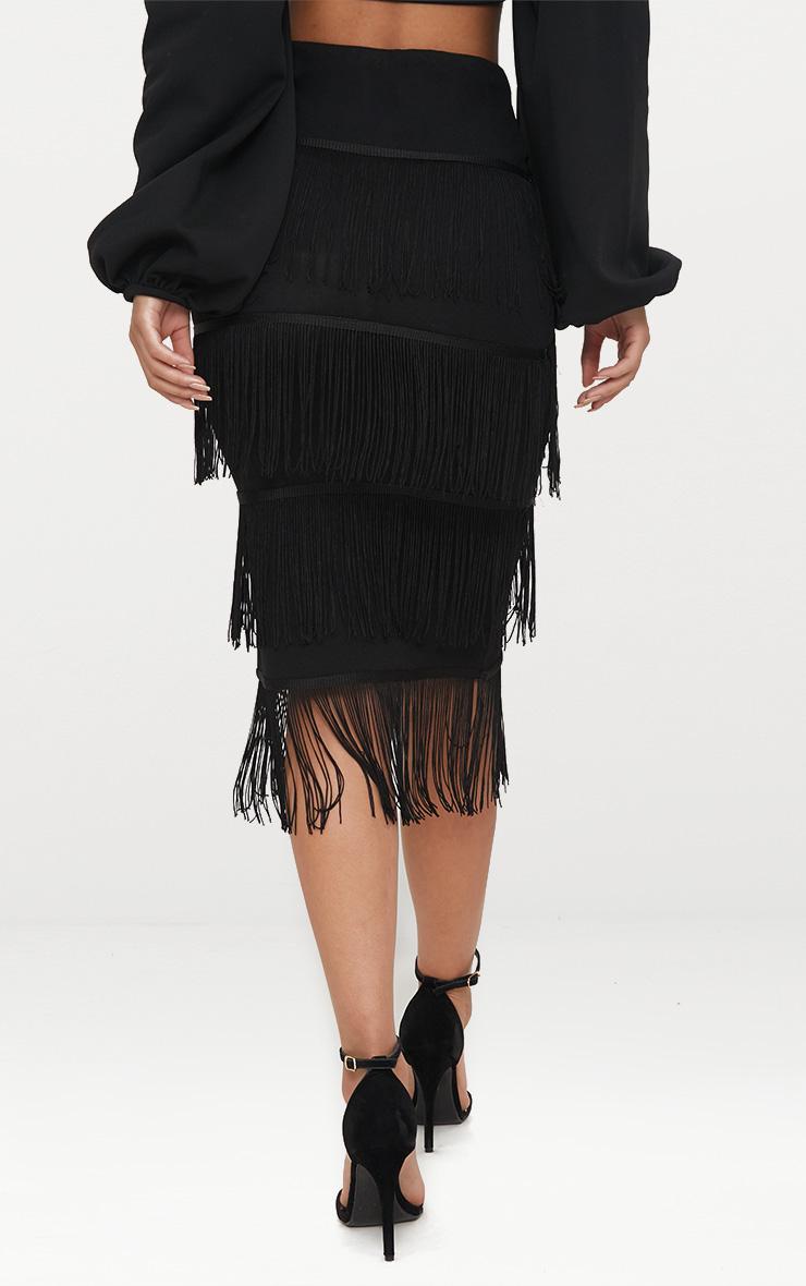 Black Tiered Fringe Midi Skirt 4