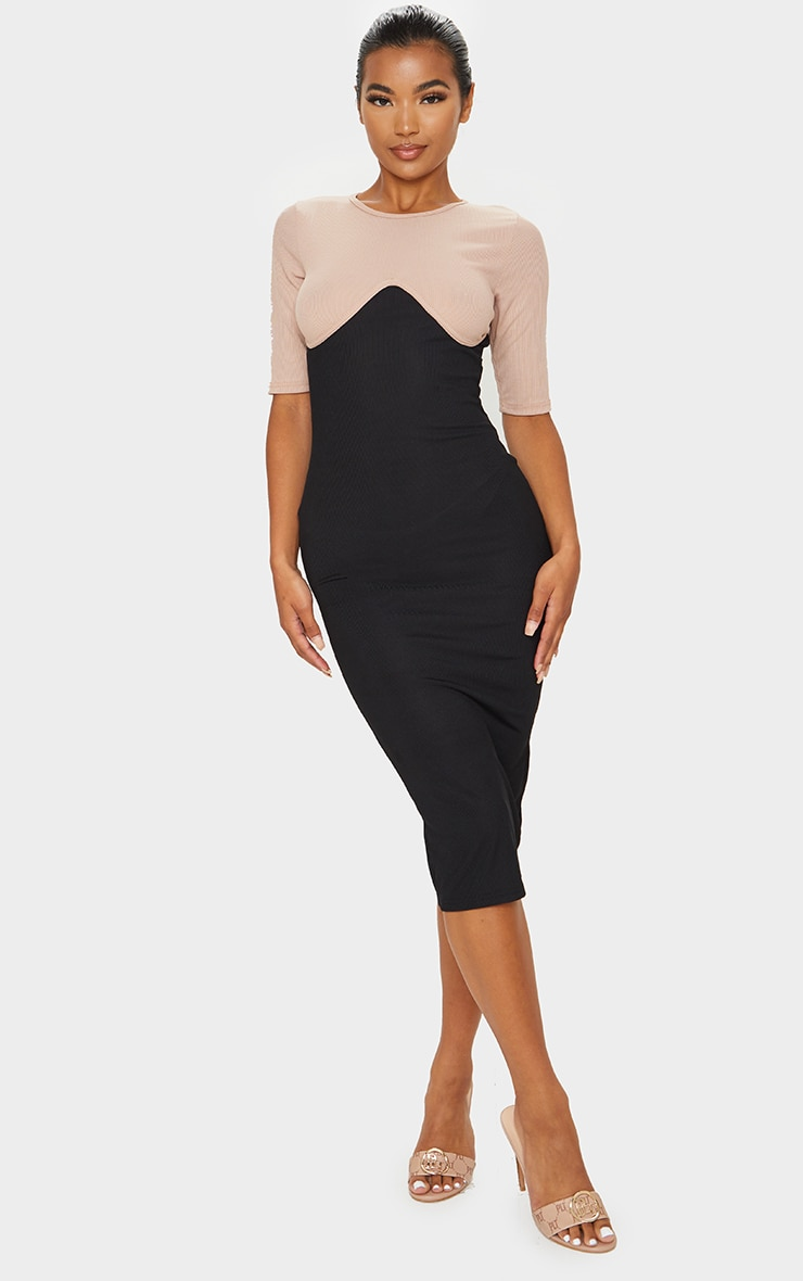 Black Rib Contrast Bust Detail Midi Dress 4