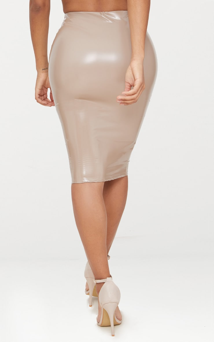 Shape Taupe PU Midi Skirt 4