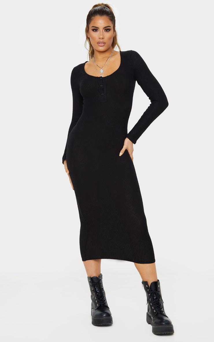 Tall Black Soft Rib Button Front Long Sleeve Midi Dress 1