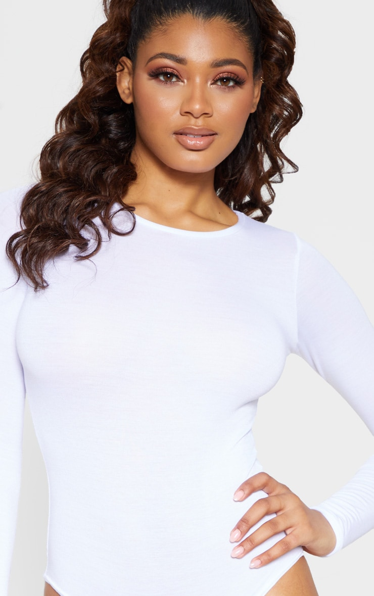 Tall White Basic Crew Neck Long Sleeve Bodysuit 6