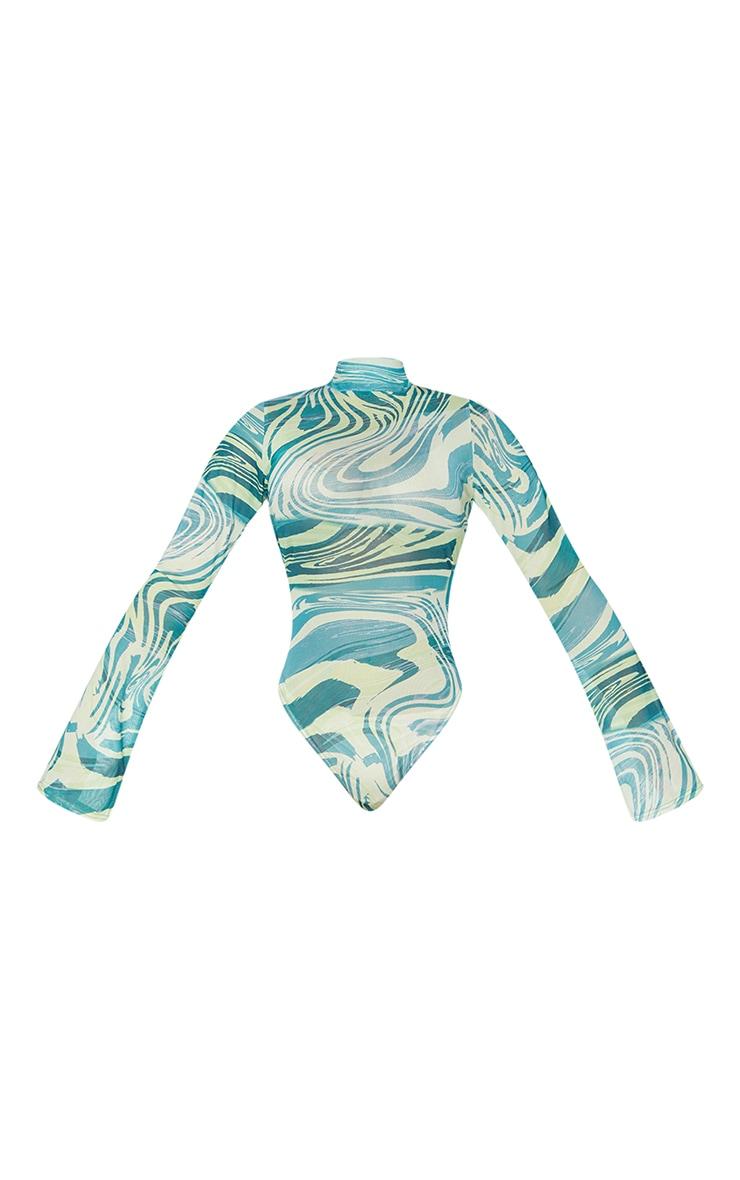 Petite Khaki Tiger Print High Leg Mesh Long Sleeve Bodysuit 5