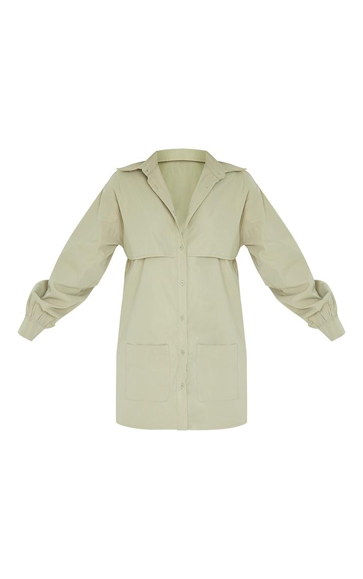 Khaki Woven Overlay Pocket Detail Shirt Dress 5