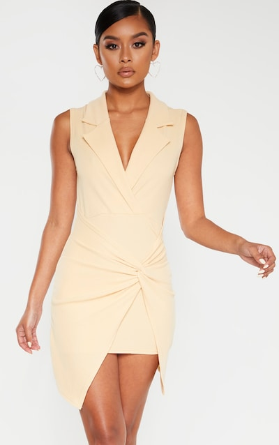 Fawn Sleeveless Twist Front Plunge Blazer Dress