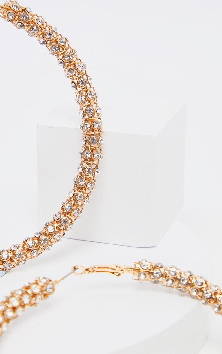 Gold Diamante Studded Larger Hoop Earring 3