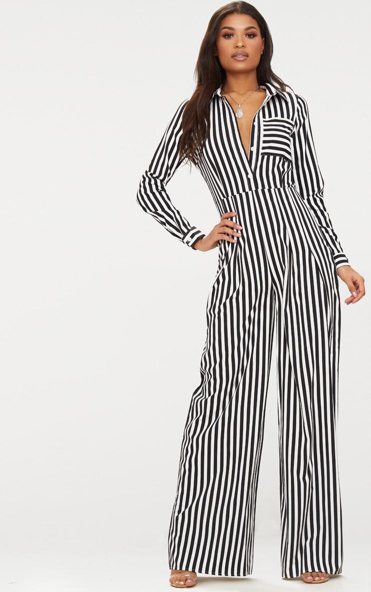 Black Button Striped Long Sleeve Through Jumpsuit 4