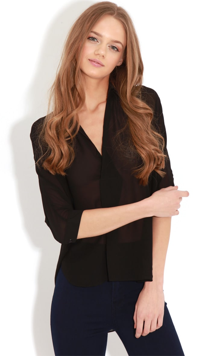Cate Black Sheer Wrap Front Blouse 4