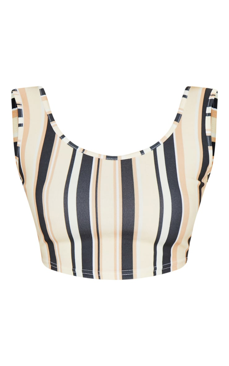 Sand Stripe Square Neck Crop Top  3
