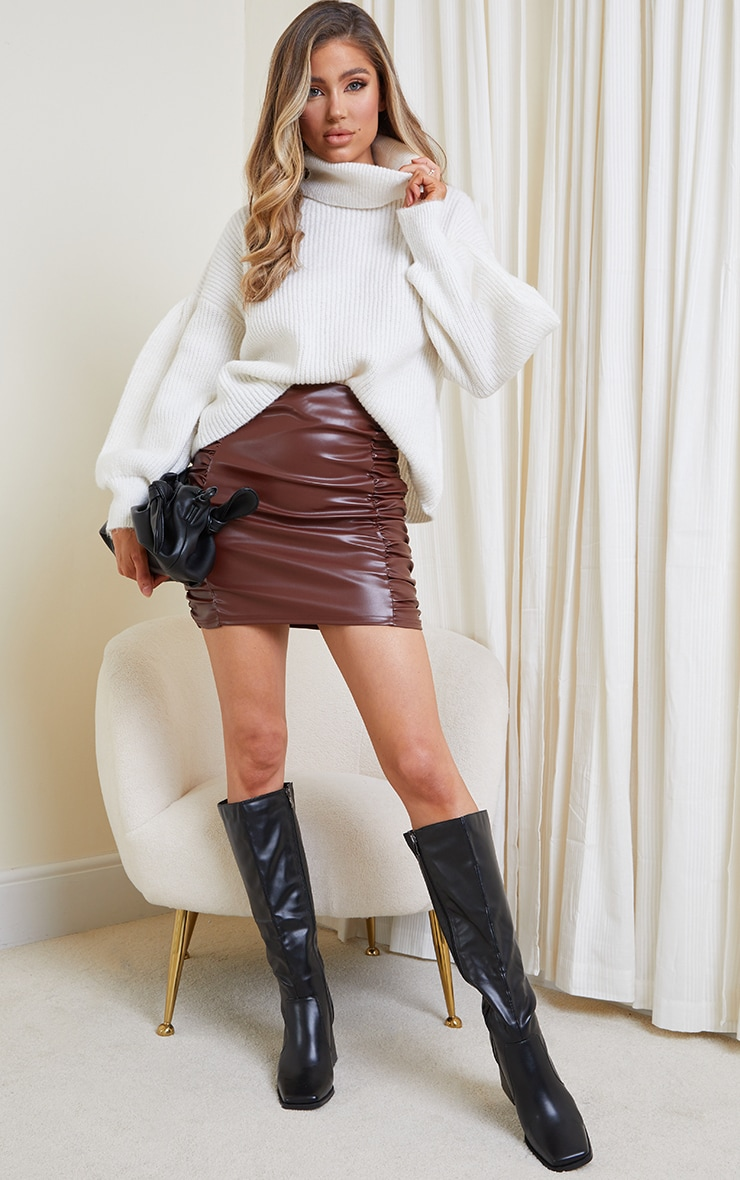 Chocolate Faux Leather Ruched Side Panel Mini Skirt 1