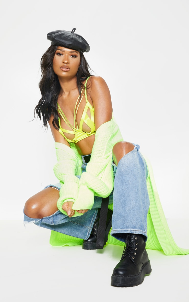 Neon Green Satin Caged Bralet 4