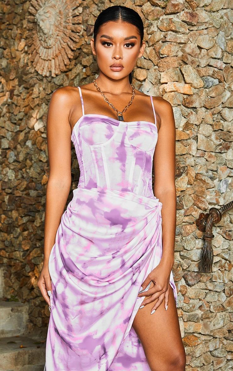 Purple Tie Dye Print Structured Corset Top 2