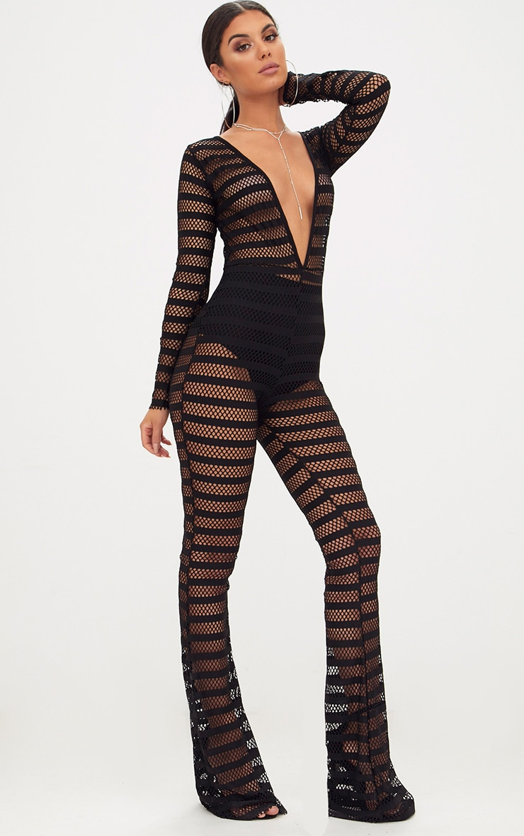 Black Knitted Long Sleeve Plunge Wide Leg Jumpsuit 4