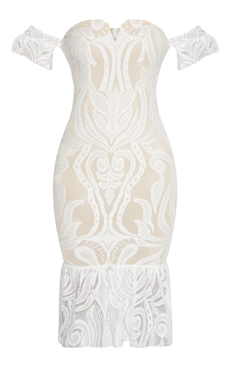 White  Bardot Lace Frill Hem Midi Dress 3