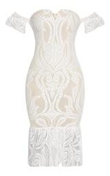 White  Bardot Lace Frill Hem Midi Dress 3