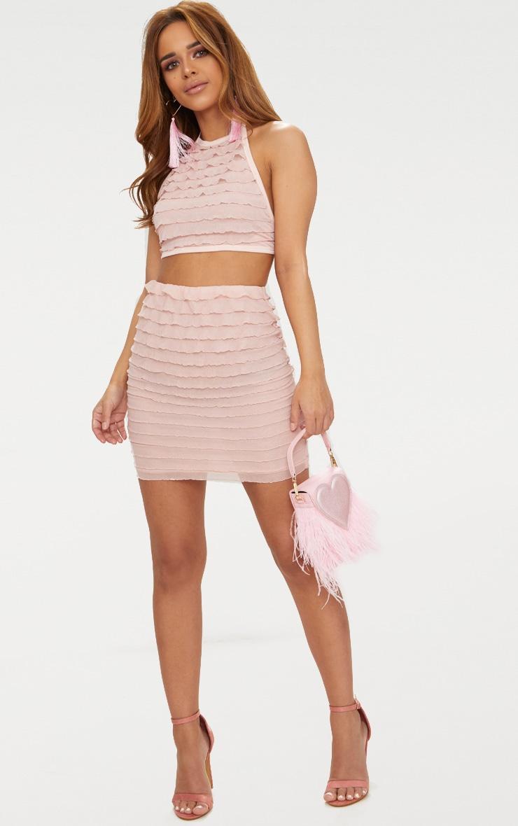 Petite Blush Ruffle Bodycon Skirt 5