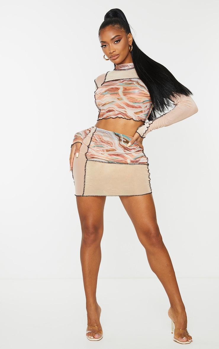 Shape Pink Marble Print Sheer Mesh Panel Detail Bodycon Skirt 1