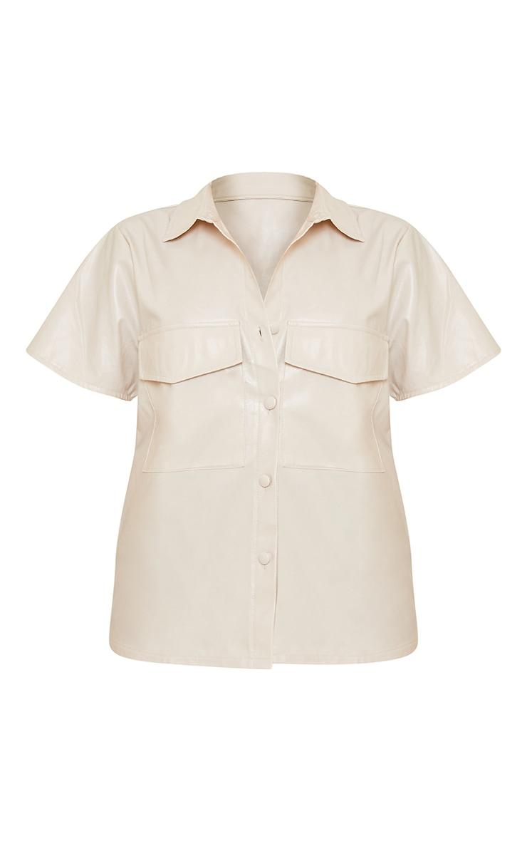 Petite Ecru Faux Leather Oversized Short Sleeve Shirt 5