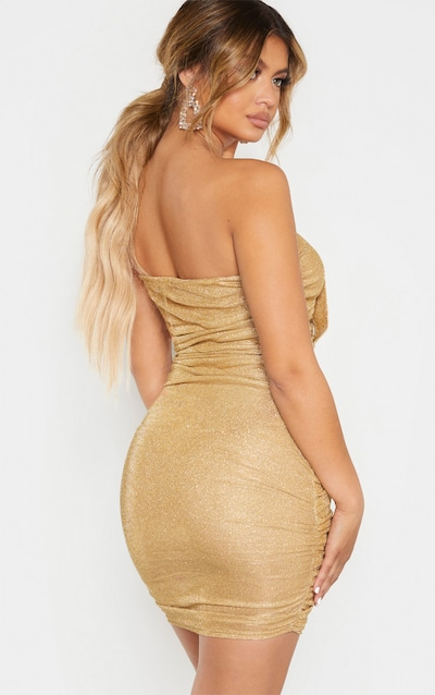Gold Textured Metallic Glitter Ruched Bandeau Bodycon Dress