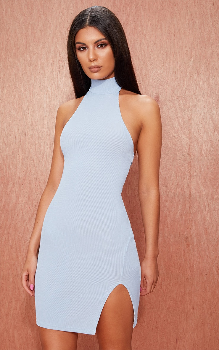 66e7cc5bbc7 Dusty Blue Ribbed High Neck Split Detail Bodycon Dress image 1