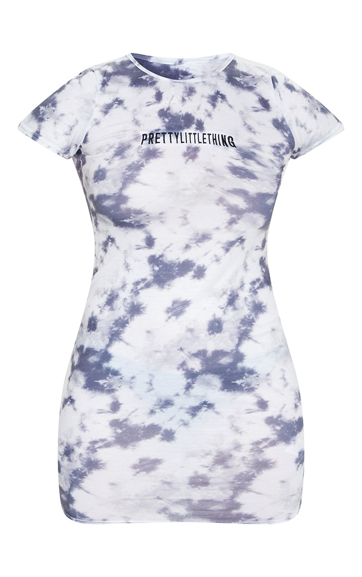 PRETTYLITTLETHING Plus Grey Embroidered Tie Dye Bodycon Dress 5