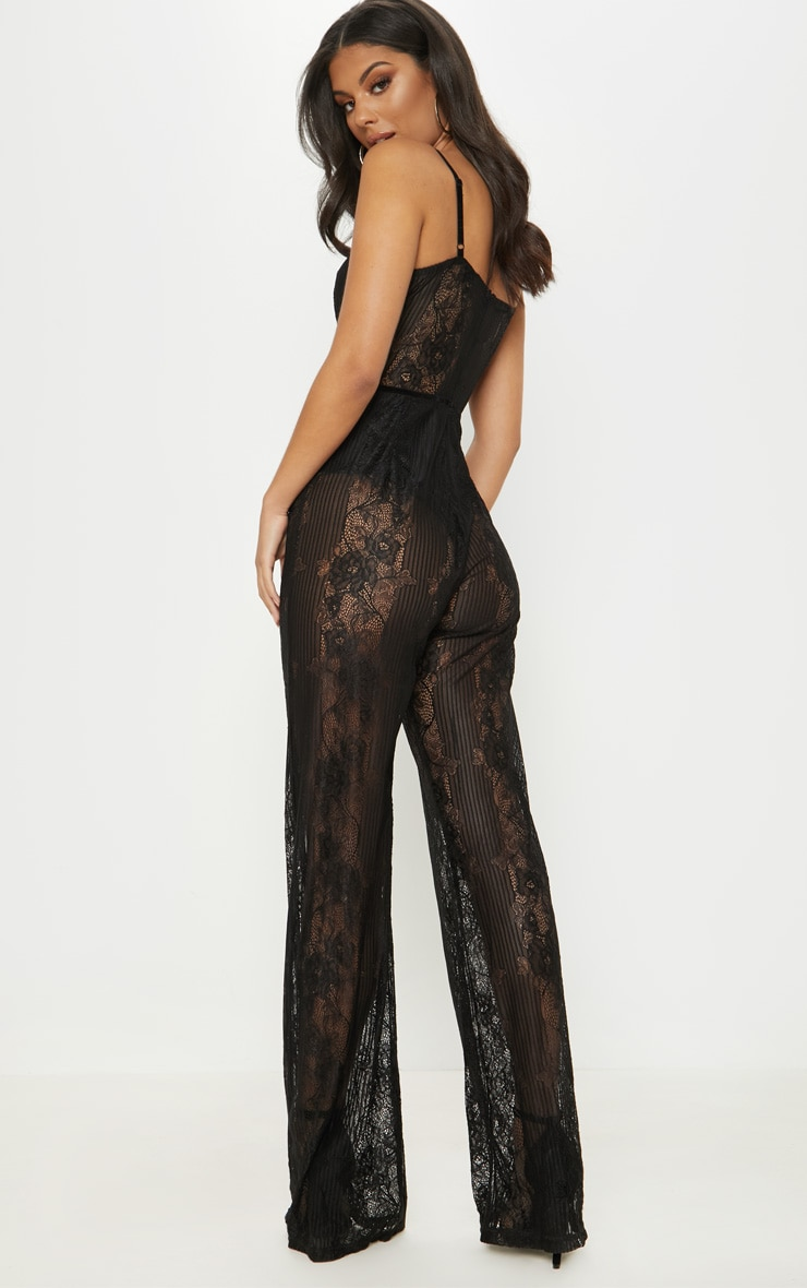 Black Lace Sheer Velvet Piped Jumpsuit 2