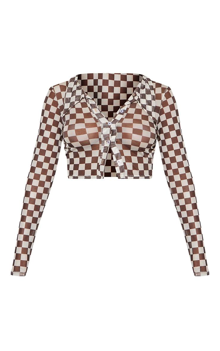 Brown  Checkerboard Print Mesh Crop Shirt 5