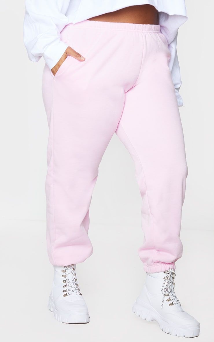Plus Baby Pink Casual Joggers 2
