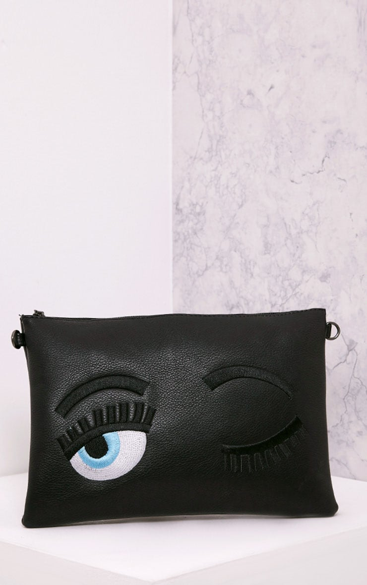 Floanna Black Eye Detail Clutch Bag 1