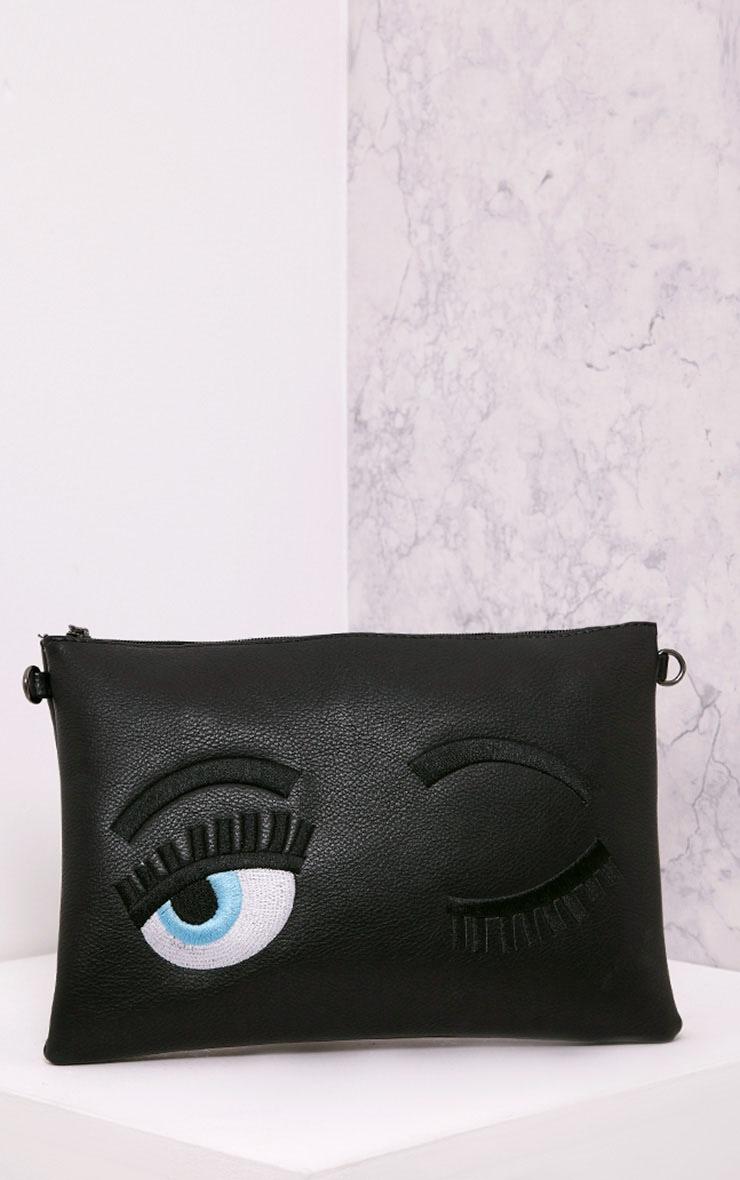 Floanna Black Eye Detail Clutch Bag 1