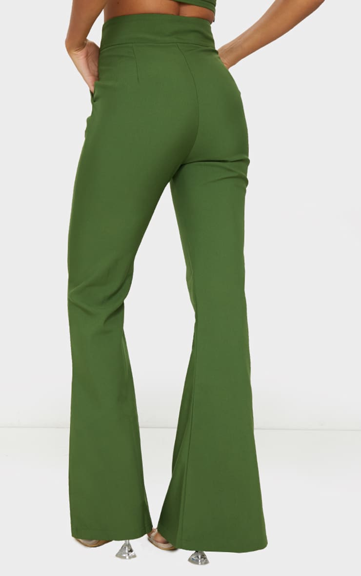Olive High Waisted Double Button Waist Flared Pants 3
