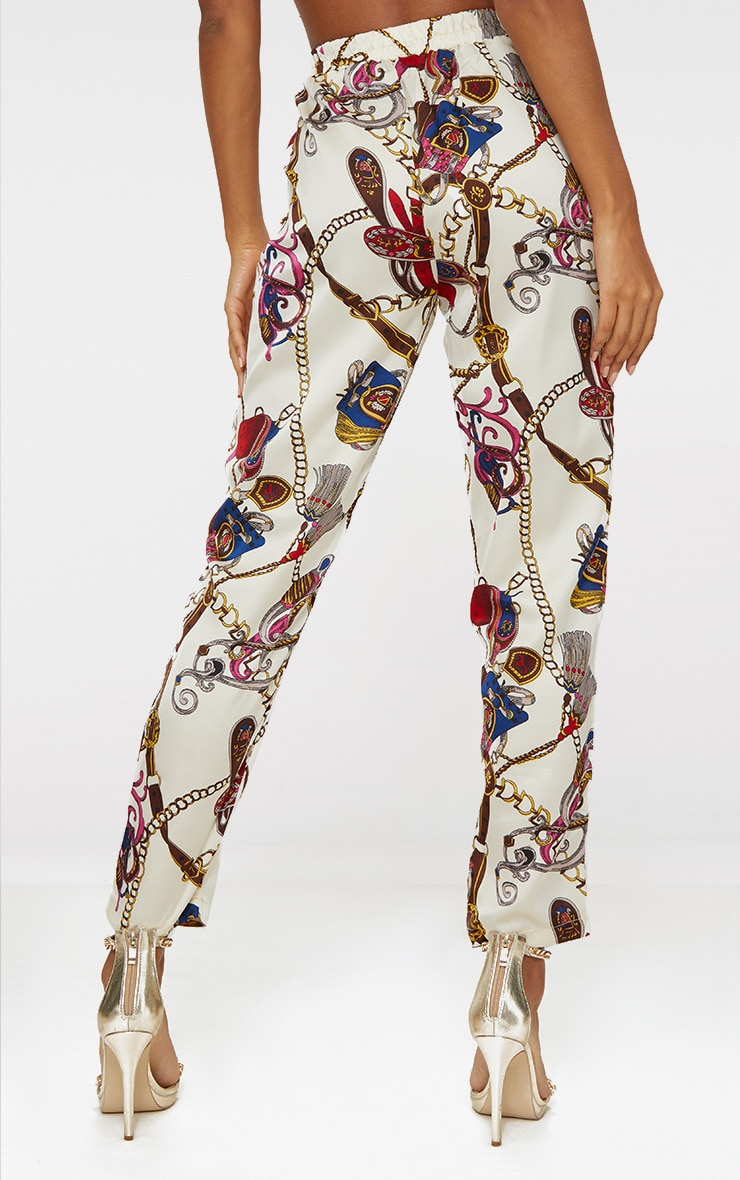 White Satin Chain Print Tie Waist Trousers 4