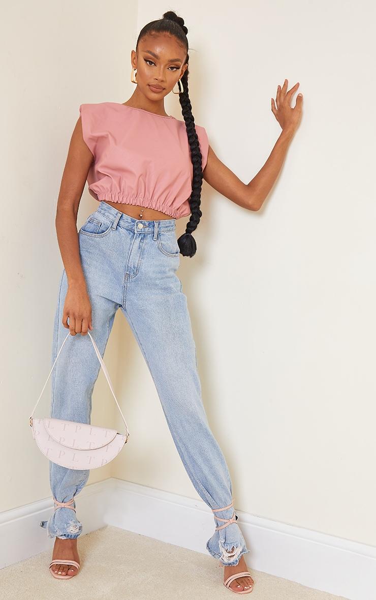 Pink PU Shoulder Pad Ruched Hem Crop Top 3