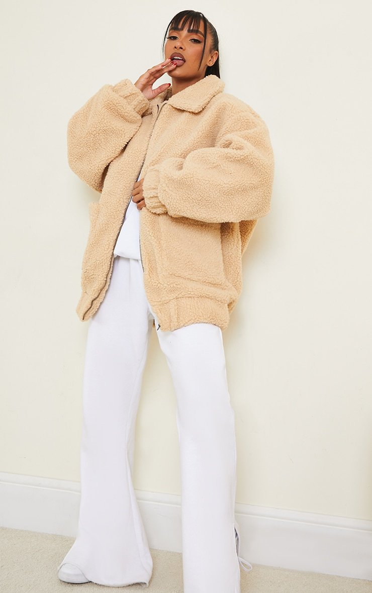 Camel Oversized Borg Pocket Front Coat image 3