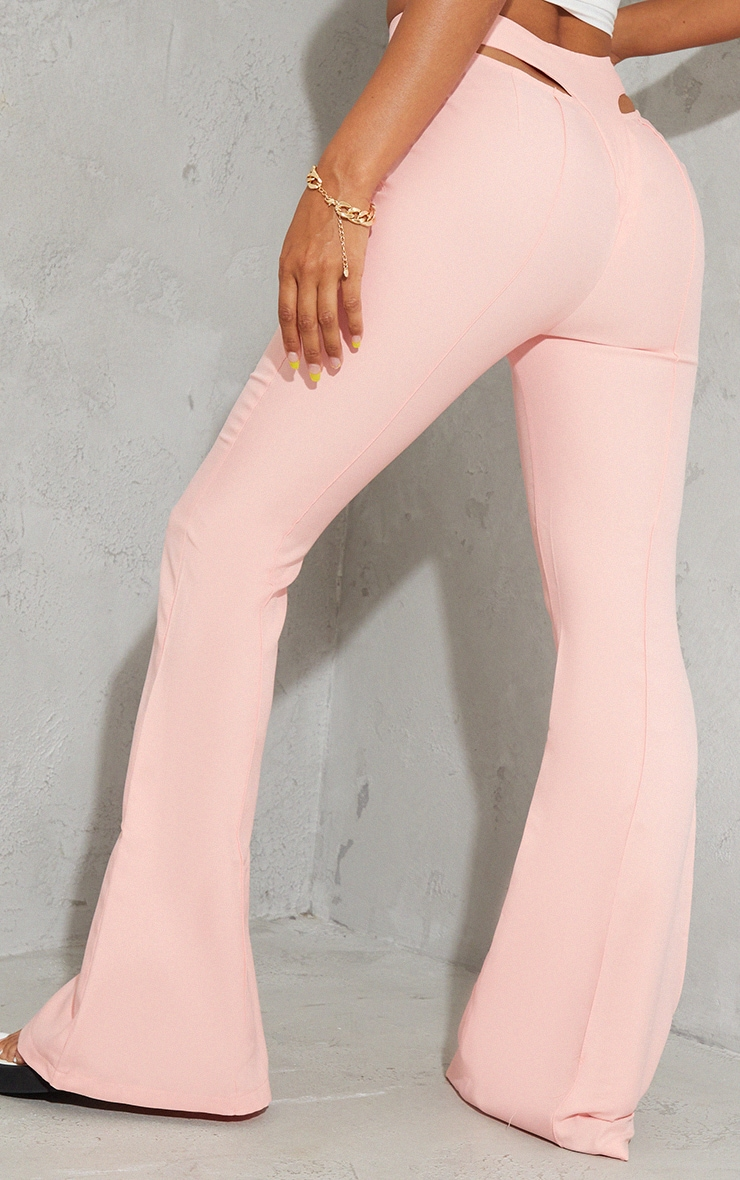 Pale Pink Woven Cut Out Detail Pintuck Flared Trousers 3