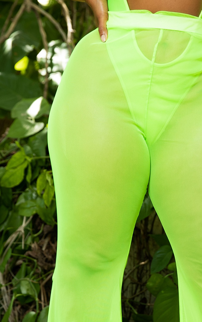 Plus Neon Lime Mesh Flare Trouser 5